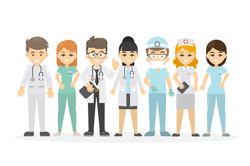 Medical staff set. Doctor and nurse, surgeon and pharmacist.
